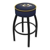 L8B1 - 4 Nashville Predators Cushion Seat with Black Wrinkle Base Swivel Bar Stool by Holland Bar Stool Company