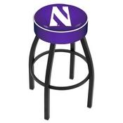 L8B1 - 4 Northwestern Cushion Seat with Black Wrinkle Base Swivel Bar Stool by Holland Bar Stool Company