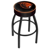 L8B1 - 4 Oregon State Cushion Seat with Black Wrinkle Base Swivel Bar Stool by Holland Bar Stool Company