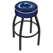 L8B1 - 4 Penn State Cushion Seat with Black Wrinkle Base Swivel Bar Stool by Holland Bar Stool Company