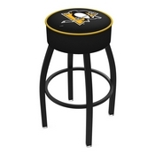 L8B1 - 4 Pittsburgh Penguins Cushion Seat with Black Wrinkle Base Swivel Bar Stool by Holland Bar Stool Company