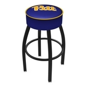 L8B1 - 4 Pitt Cushion Seat with Black Wrinkle Base Swivel Bar Stool by Holland Bar Stool Company