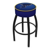 L8B1 - 4 St Louis Blues Cushion Seat with Black Wrinkle Base Swivel Bar Stool by Holland Bar Stool Company