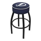 L8B1 - 4 Tampa Bay Lightning Cushion Seat with Black Wrinkle Base Swivel Bar Stool by Holland Bar Stool Company
