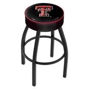 L8B1 - 4 Texas Tech Cushion Seat with Black Wrinkle Base Swivel Bar Stool by Holland Bar Stool Company