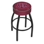 L8B1 - 4 Texas A&M Cushion Seat with Black Wrinkle Base Swivel Bar Stool by Holland Bar Stool Company