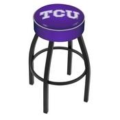 L8B1 - 4 TCU Cushion Seat with Black Wrinkle Base Swivel Bar Stool by Holland Bar Stool Company