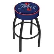 L8B1 - 4 Tulsa Cushion Seat with Black Wrinkle Base Swivel Bar Stool by Holland Bar Stool Company