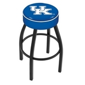 L8B1 - 4 Kentucky UK Cushion Seat with Black Wrinkle Base Swivel Bar Stool by Holland Bar Stool Company