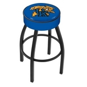 L8B1 - 4 Kentucky Wildcat Cushion Seat with Black Wrinkle Base Swivel Bar Stool by Holland Bar Stool Company