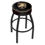 L8B1 - 4 US Military Academy (ARMY) Cushion Seat with Black Wrinkle Base Swivel Bar Stool by Holland Bar Stool Company
