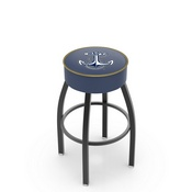 L8B1 - 4 US Naval Academy (NAVY) Cushion Seat with Black Wrinkle Base Swivel Bar Stool by Holland Bar Stool Company