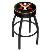 L8B1 - 4 Virginia Military Institute Cushion Seat with Black Wrinkle Base Swivel Bar Stool by Holland Bar Stool Company