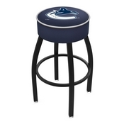 L8B1 - 4 Vancouver Canucks Cushion Seat with Black Wrinkle Base Swivel Bar Stool by Holland Bar Stool Company