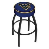L8B1 - 4 West Virginia Cushion Seat with Black Wrinkle Base Swivel Bar Stool by Holland Bar Stool Company