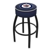 L8B1 - 4 Winnipeg Jets Cushion Seat with Black Wrinkle Base Swivel Bar Stool by Holland Bar Stool Company