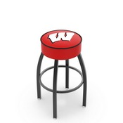 L8B1 - 4 Wisconsin W Cushion Seat with Black Wrinkle Base Swivel Bar Stool by Holland Bar Stool Company
