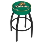 L8B1 - 4 Wright State Cushion Seat with Black Wrinkle Base Swivel Bar Stool by Holland Bar Stool Company