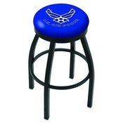 L8B2B - Black Wrinkle U.S. Air Force Swivel Bar Stool with Accent Ring by Holland Bar Stool Company