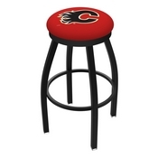 L8B2B - Black Wrinkle Calgary Flames Swivel Bar Stool with Accent Ring by Holland Bar Stool Company
