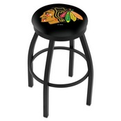 L8B2B - Black Wrinkle Chicago Blackhawks Swivel Bar Stool with Accent Ring by Holland Bar Stool Company