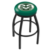 L8B2B - Black Wrinkle Colorado State Swivel Bar Stool with Accent Ring by Holland Bar Stool Company