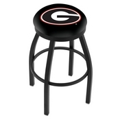 L8B2B - Black Wrinkle Georgia G Swivel Bar Stool with Accent Ring by Holland Bar Stool Company