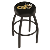 L8B2B - Black Wrinkle Georgia Tech Swivel Bar Stool with Accent Ring by Holland Bar Stool Company