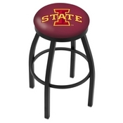 L8B2B - Black Wrinkle Iowa State Swivel Bar Stool with Accent Ring by Holland Bar Stool Company