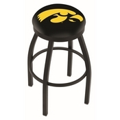 L8B2B - Black Wrinkle Iowa Swivel Bar Stool with Accent Ring by Holland Bar Stool Company