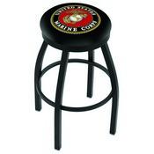 L8B2B - Black Wrinkle U.S. Marines Swivel Bar Stool with Accent Ring by Holland Bar Stool Company