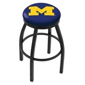 L8B2B - Black Wrinkle Michigan Swivel Bar Stool with Accent Ring by Holland Bar Stool Company