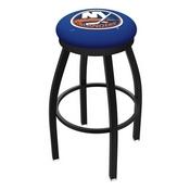 L8B2B - Black Wrinkle New York Islanders Swivel Bar Stool with Accent Ring by Holland Bar Stool Company