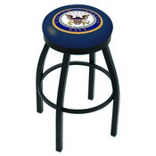 L8B2B - Black Wrinkle U.S. Navy Swivel Bar Stool with Accent Ring by Holland Bar Stool Company