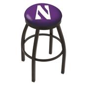 L8B2B - Black Wrinkle Northwestern Swivel Bar Stool with Accent Ring by Holland Bar Stool Company