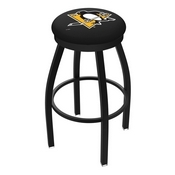 L8B2B - Black Wrinkle Pittsburgh Penguins Swivel Bar Stool with Accent Ring by Holland Bar Stool Company