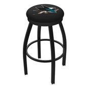 L8B2B - Black Wrinkle San Jose Sharks Swivel Bar Stool with Accent Ring by Holland Bar Stool Company