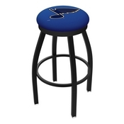 L8B2B - Black Wrinkle St Louis Blues Swivel Bar Stool with Accent Ring by Holland Bar Stool Company