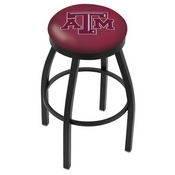 L8B2B - Black Wrinkle Texas A&M Swivel Bar Stool with Accent Ring by Holland Bar Stool Company