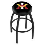 L8B2B - Black Wrinkle Virginia Military Institute Swivel Bar Stool with Accent Ring by Holland Bar Stool Company