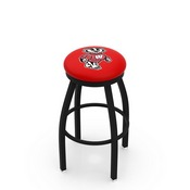 L8B2B - Black Wrinkle Wisconsin Badger Swivel Bar Stool with Accent Ring by Holland Bar Stool Company