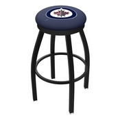 L8B2B - Black Wrinkle Winnipeg Jets Swivel Bar Stool with Accent Ring by Holland Bar Stool Company