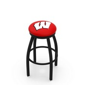 L8B2B - Black Wrinkle Wisconsin W Swivel Bar Stool with Accent Ring by Holland Bar Stool Company
