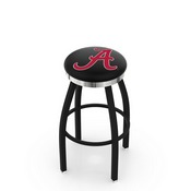 L8B2C - Black Wrinkle Alabama Swivel Bar Stool with Chrome Accent Ring by Holland Bar Stool Company (ALogo)