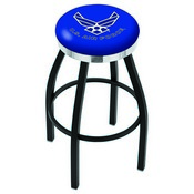 L8B2C - Black Wrinkle U.S. Air Force Swivel Bar Stool with Chrome Accent Ring by Holland Bar Stool Company