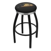 L8B2C - Black Wrinkle Anaheim Ducks Swivel Bar Stool with Chrome Accent Ring by Holland Bar Stool Company