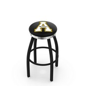 L8B2C - Black Wrinkle Appalachian State Swivel Bar Stool with Chrome Accent Ring by Holland Bar Stool Company