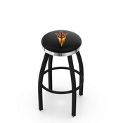 L8B2C - Black Wrinkle Arizona State Swivel Bar Stool with Chrome Accent Ring and Pitchfork Logo by Holland Bar Stool Company