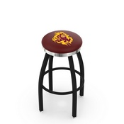 L8B2C - Black Wrinkle Arizona State Swivel Bar Stool with Chrome Accent Ring and Sparky Logo by Holland Bar Stool Company