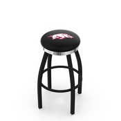 L8B2C - Black Wrinkle Arkansas Swivel Bar Stool with Chrome Accent Ring by Holland Bar Stool Company